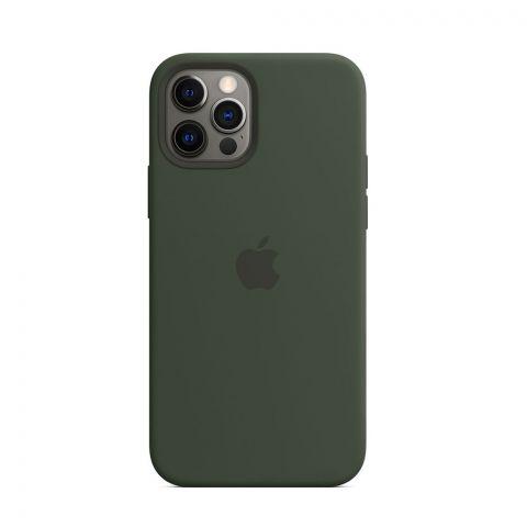 Силиконовый чехол для iPhone 12 Pro Max Silicone Case Full (с закрытой нижней частью)-Pine Green
