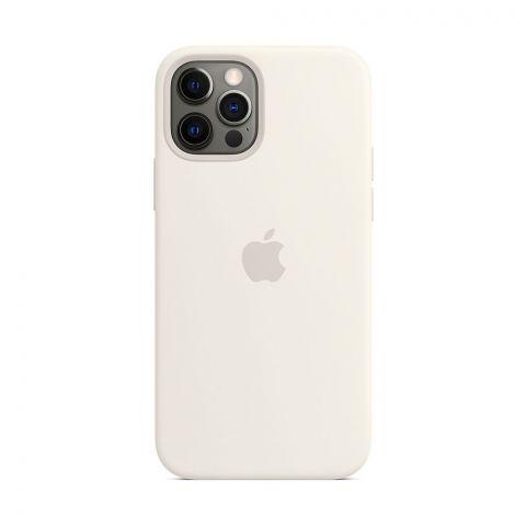 Силиконовый чехол для iPhone 12 Pro Max Silicone Case Full (с закрытой нижней частью)-White