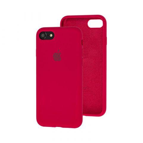 Силиконовый чехол для iPhone 7/8 Silicone Case Full (с закрытой нижней частью)-Rose Red