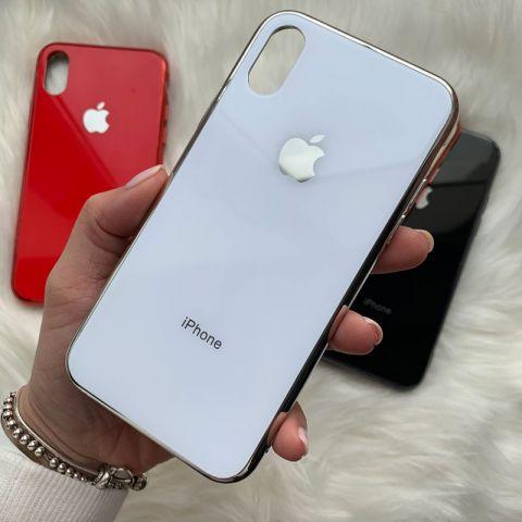 Чехол для iPhone XR Glass Case Logo-White