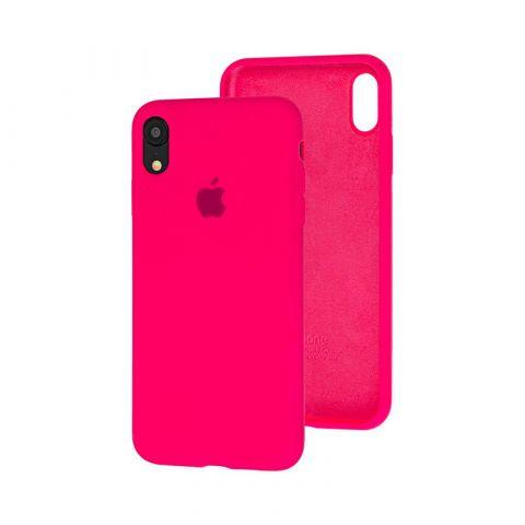 Силиконовый чехол для iPhone XR Silicone Case Full (с закрытой нижней частью)-Electric Pink