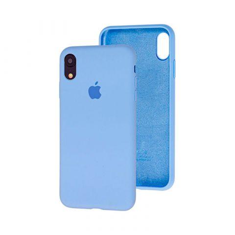 Силиконовый чехол для iPhone XR Silicone Case Full (с закрытой нижней частью)-Lilac Cream