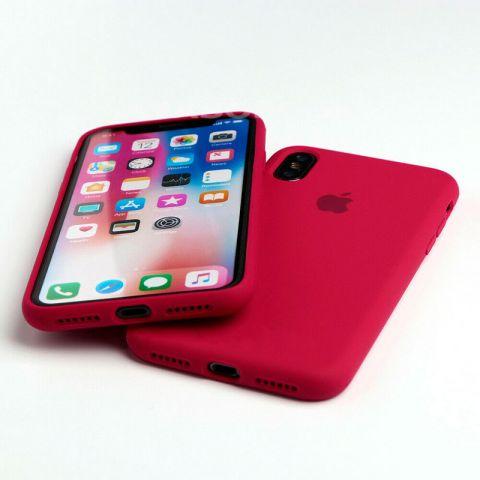 Силиконовый чехол для iPhone XR Silicone Case Full (с закрытой нижней частью)-Rose Red