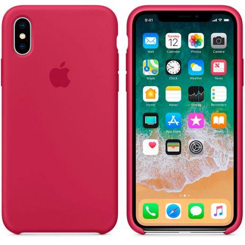 Силиконовый чехол для iPhone X/XS Apple Silicone Case-Rose Red