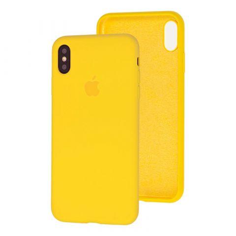 Силиконовый чехол для iPhone XS Max Silicone Case Full (с закрытой нижней частью)-Canary Yellow