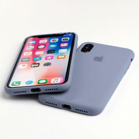 Силиконовый чехол для iPhone XS Max Silicone Case Full (с закрытой нижней частью)-Lavender Gray