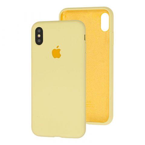 Силиконовый чехол для iPhone XS Max Silicone Case Full (с закрытой нижней частью)-Mellow Yellow