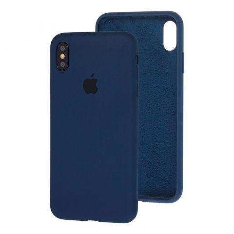 Силиконовый чехол для iPhone XS Max Silicone Case Full (с закрытой нижней частью)-Midnight Blue