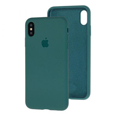 Силиконовый чехол для iPhone XS Max Silicone Case Full (с закрытой нижней частью)-Pine Green
