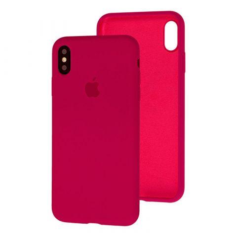 Силиконовый чехол для iPhone XS Max Silicone Case Full (с закрытой нижней частью)-Red Raspberry