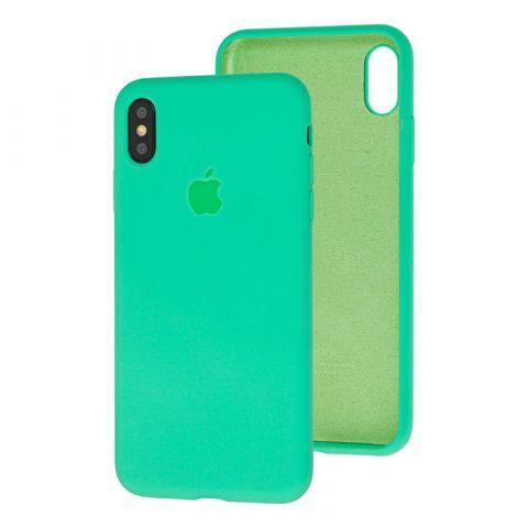 Силиконовый чехол для iPhone XS Max Silicone Case Full (с закрытой нижней частью)-Spearmint