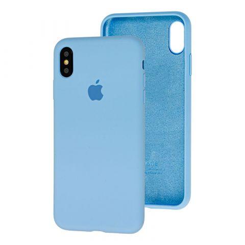 Силиконовый чехол для iPhone X/XS Silicone Case Full (с закрытой нижней частью)-Lilac Cream