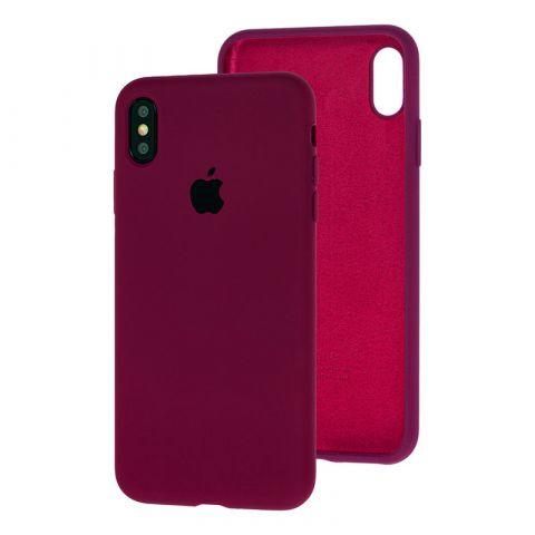 Силиконовый чехол для iPhone X/XS Silicone Case Full (с закрытой нижней частью)-Marsala