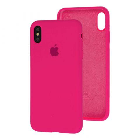 Силиконовый чехол для iPhone X/XS Silicone Case Full (с закрытой нижней частью)-Rose Red