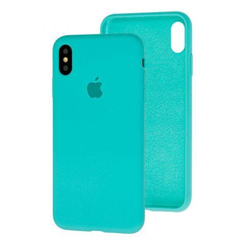 Силиконовый чехол для iPhone X/XS Silicone Case Full (с закрытой нижней частью)-Sea Blue