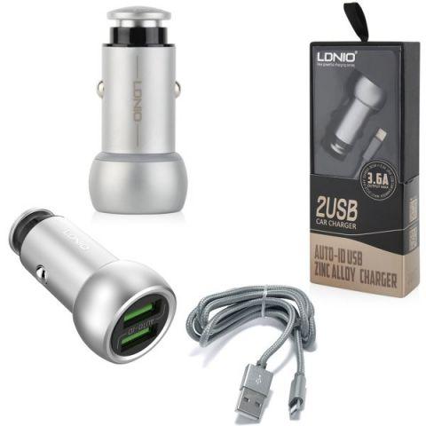 Автомобильная зарядка LDNIO C401 3.6A Auto ID 2 USB + кабель Lightning