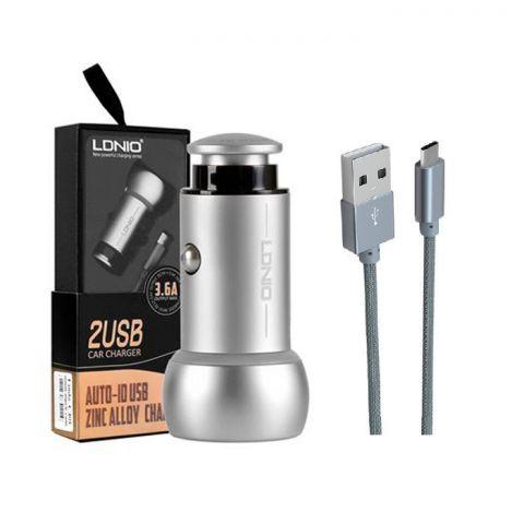 Автомобильная зарядка LDNIO C401 3.6A Auto ID 2 USB + кабель Type-C