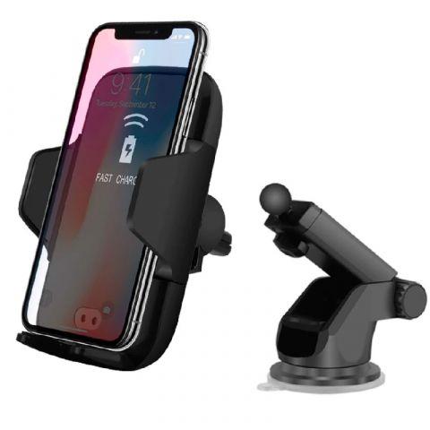 Сенсорный Автомобильный держатель с беспроводной зарядкой D1 Qi Automatic Wireless Car Charger (на панель и дефлектор)