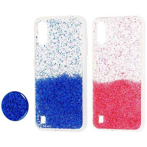 Чехол для Samsung Galaxy A01 (A015) Fashion блестки + popsocket