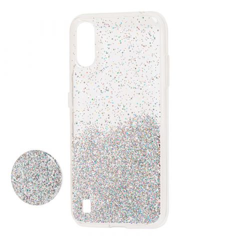 Чехол для Samsung Galaxy A01 (A015) Fashion блестки + popsocket-Silver