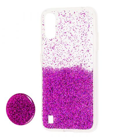 Чехол для Samsung Galaxy A01 (A015) Fashion блестки + popsocket-Violet