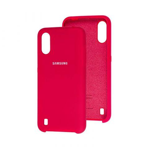Чехол для Samsung Galaxy A01 (A015) Soft Touch Silicone Cover-Red Raspberry