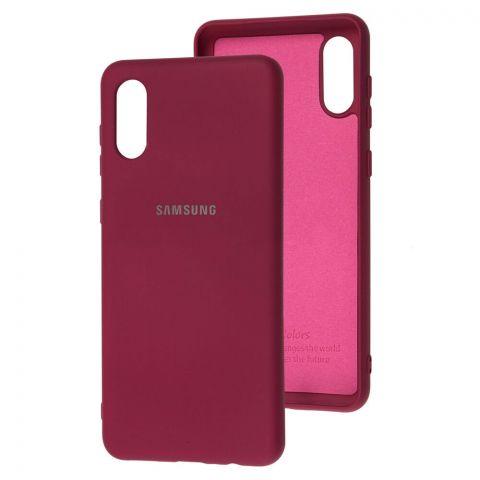 Силиконовый чехол для Samsung Galaxy A02 (A022) Silicone Full-Marsala