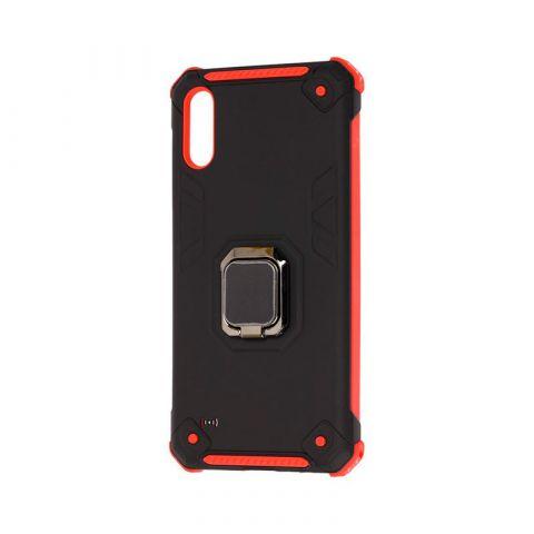Противоударный чехол для Samsung Galaxy A10 (A105) Техно с кольцом-Black/Red