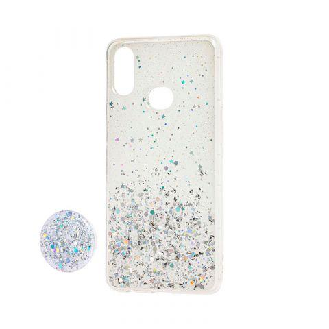 Чехол для Samsung Galaxy A10s (A107) блестки + popsocket-White