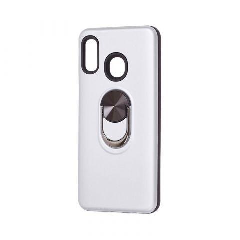Противоударный чехол для Samsung Galaxy A20 (A205) SoftTouch с кольцом-Silver
