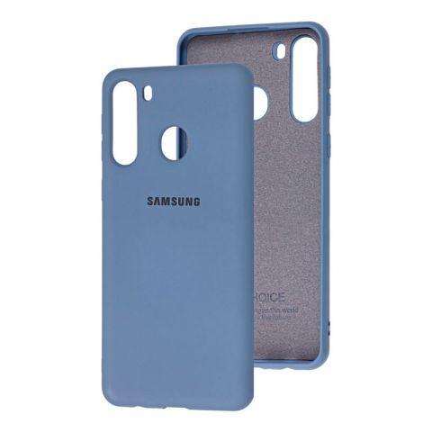 Чехол для Samsung Galaxy A21 (A215) Silicone Full-Lavender Gray