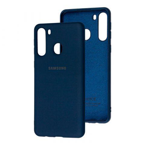 Чехол для Samsung Galaxy A21 (A215) Silicone Full-Midnight Blue