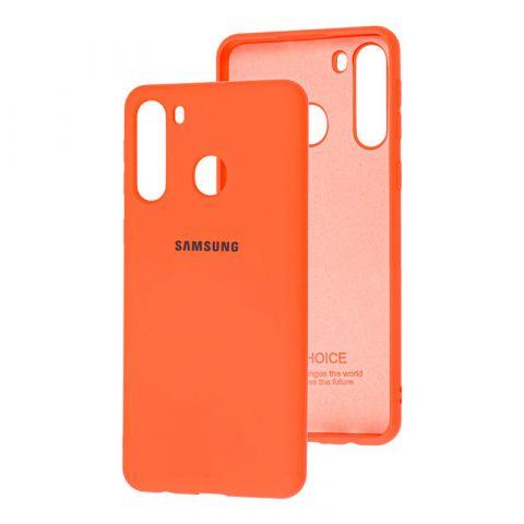 Чехол для Samsung Galaxy A21 (A215) Silicone Full-Orange