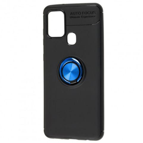 Чехол для Samsung Galaxy A21s (A217) Deen ColorRing с кольцом-Black/Blue