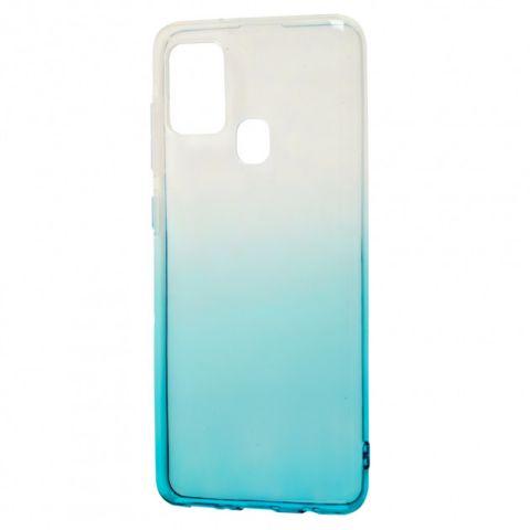 Силиконовый чехол для Samsung Galaxy A21s (A217) Gradient Design-White/Turquoise