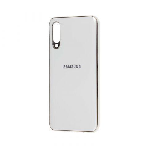 Чехол для Samsung Galaxy A50 (A505) Glass Silicone Case-White