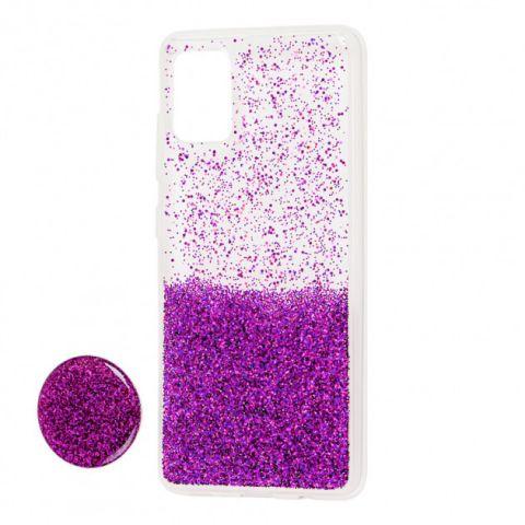 Чехол для Samsung Galaxy A51 (A515) Fashion блестки + popsocket-Violet