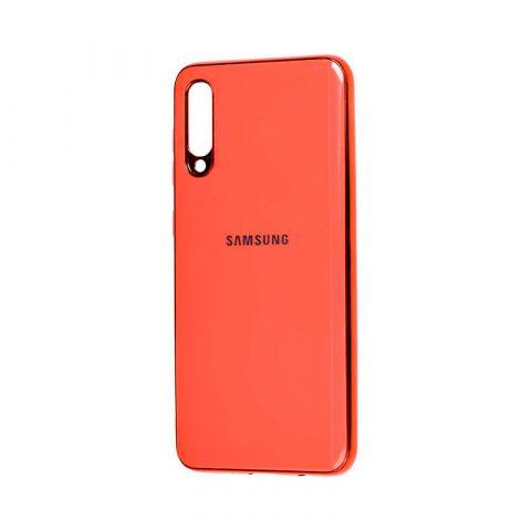 Чехол для Samsung Galaxy A70 (A705) Glass Silicone Case-Pink