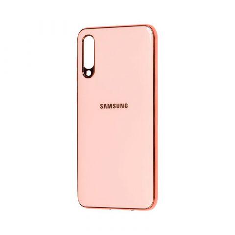 Чехол для Samsung Galaxy A70 (A705) Glass Silicone Case-Rose Gold