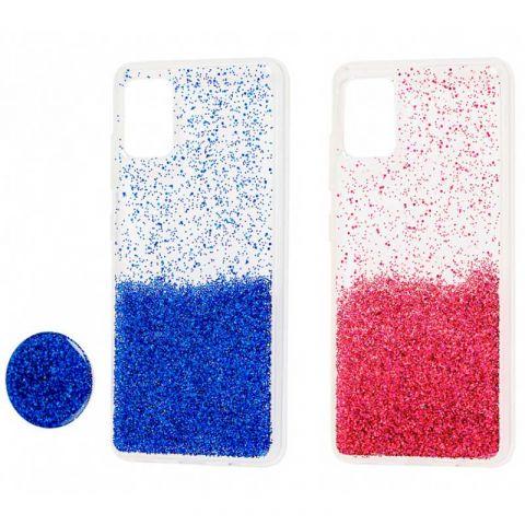 Чехол для Samsung Galaxy A71 (A715) Fashion блестки + popsocket