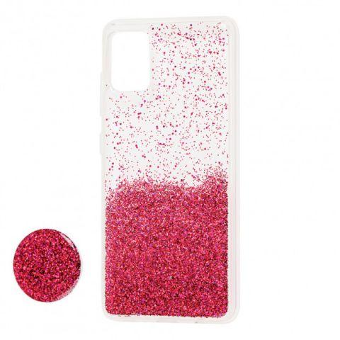Чехол для Samsung Galaxy A71 (A715) Fashion блестки + popsocket-Bordo