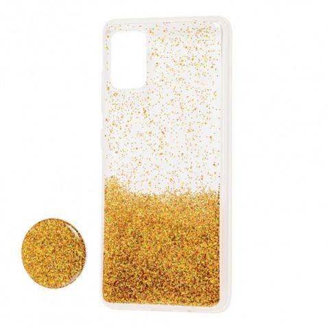 Чехол для Samsung Galaxy A71 (A715) Fashion блестки + popsocket-Gold