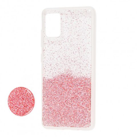 Чехол для Samsung Galaxy A71 (A715) Fashion блестки + popsocket-Pink