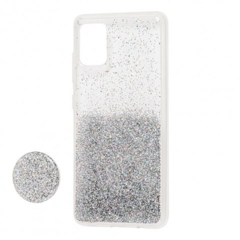 Чехол для Samsung Galaxy A71 (A715) Fashion блестки + popsocket-Silver