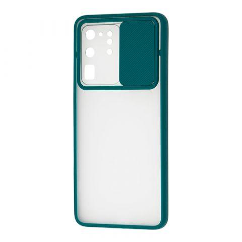 Чехол для Samsung Galaxy S20 Ultra (G988) LikGus Camshield camera protect (с защитой камеры)-Green