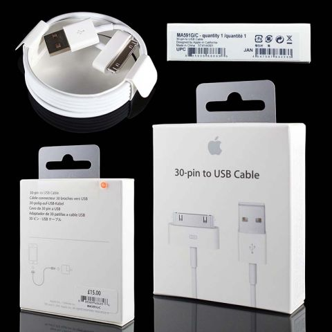 Оригинальный usb кабель для iPhone 4/4S, iPad 2/3 Apple 30-pin to USB (1м) (MA591FE/B)