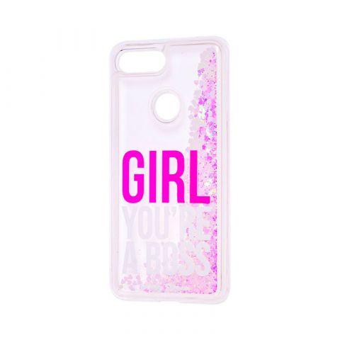 Чехол на Xiaomi Mi 8 Lite Блестки вода-Barbie Pink