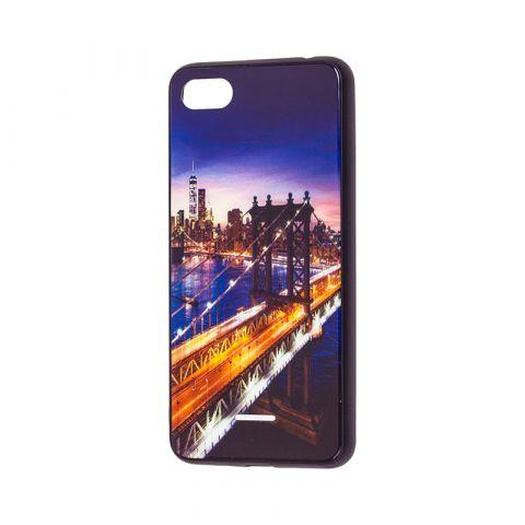 Чехол для Xiaomi Redmi 6A Glass New (город)-Dark Blue