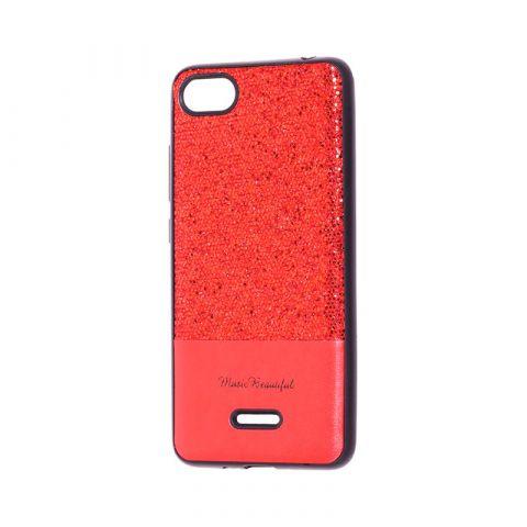 Чехол для Xiaomi Redmi 6A Leather с блестками