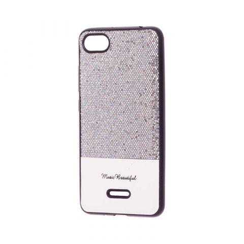 Чехол для Xiaomi Redmi 6A Leather с блестками-Silver